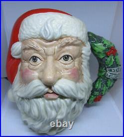 1987 Royal Doulton SANTA CLAUS Toby Character Jug D6794 with Holly Wreath Rare