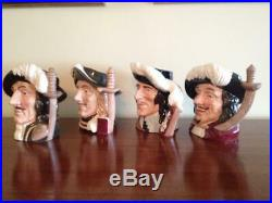 4 Vintage Royal Doulton Large 7 Toby Character Jugs/Mugs, The Four Musketeers