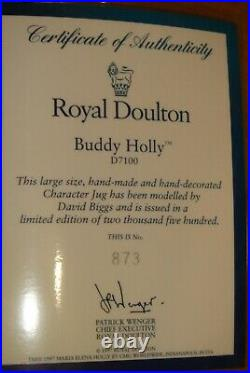 BUDDY HOLLY super rare Royal Doulton Character Toby Jug D7100 with COA