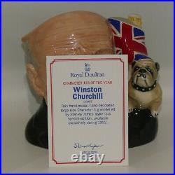 D6907 Royal Doulton large character jug Winston Churchill CJ Year 1992 + Cert