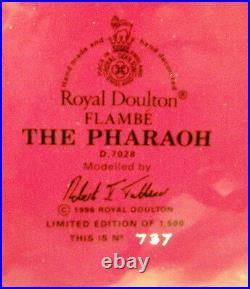 GORGEOUS, Very Collectible Royal Doulton FLAMBE w COA PHARAOH