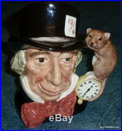 LARGE Mad Hatter Royal Doulton Character Toby Jug D6598 Alice In Wonderland