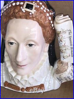 LARGE ROYAL DOULTON CHARACTER Toby JUG Queen Elizabeth I D7180 Mint In Box