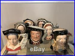 Large Royal Doulton Character Jug Set, Henry VIII and Six Wives