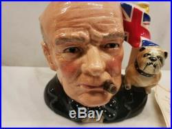 Large Royal Doulton Winston Churchill Bulldog Toby Character Jug 6.75 D6907 R22