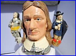 Large Two handled Royal Doulton Character Jug D6968 OLIVER CROMWELL. With COA