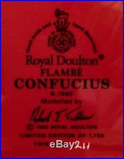 MINT Royal Doulton Limited Edition Large Flambe CONFUCIUS Character Jug