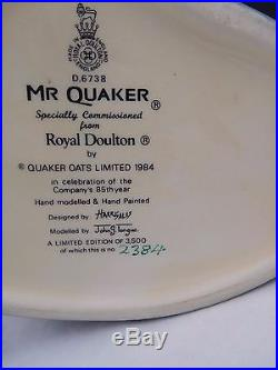 ROYAL DOULTON Mr. Quaker Large Character Toby Jug D6738 Limited Edition 3500