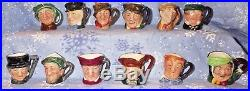 ROYAL DOULTON Set of 12 Original Tiny Character Jugs from the 1950 1 3/4 tall