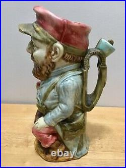 Rare Majolica Vintage Toby Character Jug Mug Pitcher 11 Made in France by FFAS