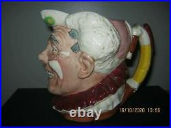 Rare Royal Doulton White Haired Clown Character Jug D6322
