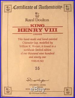 Royal Doulton 1991 Large Character Jug King Henry VIII D6888 Ltd Ed #55 / 1991