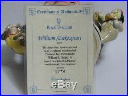 Royal Doulton 2-Handled Character Jug D6933 William Shakespeare w COA #1272/2500