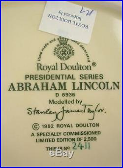 Royal Doulton Abraham Lincoln Large 7 In. Toby Character Jug, Mint, England