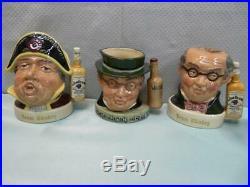Royal Doulton Character Jim Beam Whiskey Advertising Jugs Toby Mug Set of 5