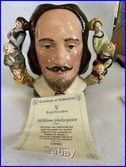 Royal Doulton Character Jug William Shakespeare D6933 1992 Large w COA Toby Mug
