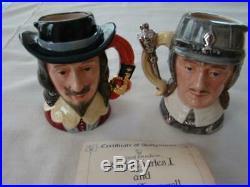 Royal Doulton Character Jugs King Charles & Oliver Cromwell Set D 6985 D6986 COA