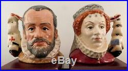 Royal Doulton Character Jugs King Philip and QE I D6821&22