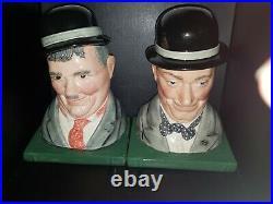 Royal Doulton Character Jugs Laurel & Hardy Bookends D7119 & D7120