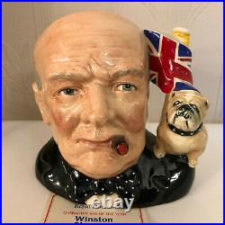 Royal Doulton D6907 Winston Churchill Large Size Character Jug Of The Year + COA