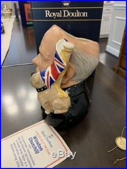 Royal Doulton D6907 Winston Churchill Toby Character Jug Bulldog Union Jack 1992
