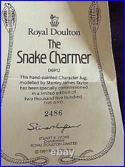 Royal Doulton D6912 Snake Charmer Large Character Jug & Certificate No 2486