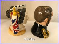 Royal Doulton D7072 D7073 Queen Victoria And Prince Albert Small Character Jugs