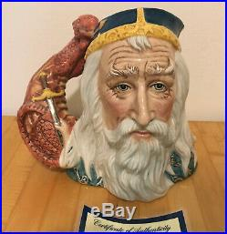 Royal Doulton D7117 Large Merlin Limited Edition Toby Character Jug with COA