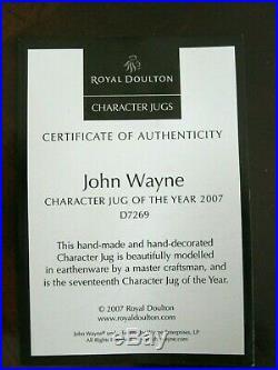 Royal Doulton John Wayne D7269 Character Jug Year 2007 Mint Condition withCOA