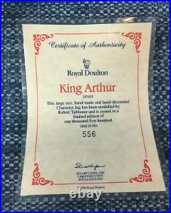Royal Doulton King Arthur D7055 Character Toby Jug Large 7.25 Mint with COA