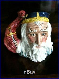 Royal Doulton King Arthur D7055 Merlin D7117 Character Jugs Mint Cond withCOAs
