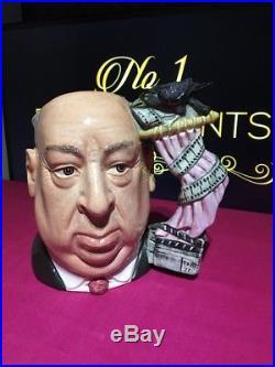 Royal Doulton Large Character Jug Alfred Hitchcock D6987 Pink Curtain Rare