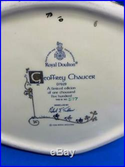 Royal Doulton Large Character Jug! Geoffrey Chaucer! D7029! Mint! Rare