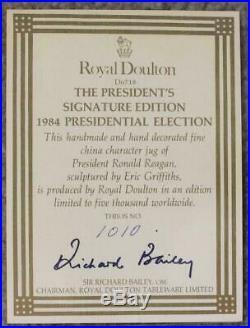 Royal Doulton Large Character Jug Ronald Reagan D6718 Ltd Ed 1010/2000 with COA