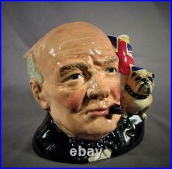 Royal Doulton Large Character Jug Winston Churchill with Bull Dog D6907
