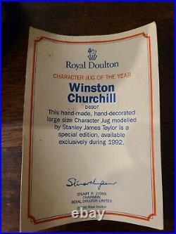 Royal Doulton Large Toby Character Jug Winston Churchill & Tag # D6907