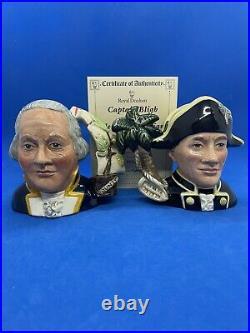 Royal Doulton Ltd Ed Character Jugs! Captain Bligh & Fletcher Christian! + Cert