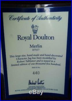 Royal Doulton Merlin 7 Toby Character Mug Jug D7117 COA #440 Ltd Ed withBox