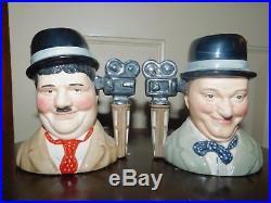 Royal Doulton Pair Oliver Hardy Stan LIM Ed 2158/3500 Character Jug Mug