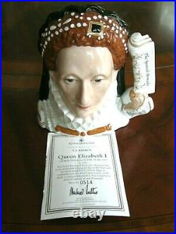 Royal Doulton Queen Elizabeth I Character Jug of the Year 2003 D7180 Mint withCOA