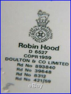 Royal Doulton' Robin Hood''Embossed Character Toby Jug 1959's Vintage V. G. C