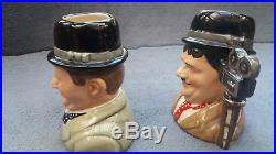 Royal Doulton Stan Laurel D7008 Oliver Hardy D7009 Pair Small Character Jugs