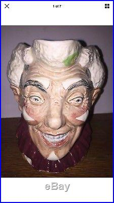 Royal Doulton The Clown Character Toby Jug D6322 with White Hair MINT