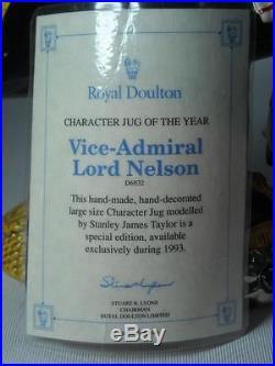 Royal Doulton VICE ADMIRAL LORD NELSON Character Jug D6932 +COA 8 Photos
