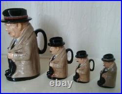 Royal Doulton Winston Churchill Toby Jug plus 3 Character Jugs Winston Churchill