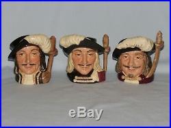 Set of 3 Royal Doulton small character jugs THE MUSKETEERS Porthos Athos Aramis