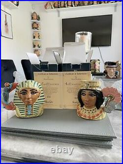 Small Size Pair Of Doulton Character Jugs Tutankhamen & Ankhasenamun