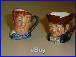 TINY TOBIES ROYAL DOULTON 12 Vintage Character Jugs mugs, 1 3/4 inches 1940-60