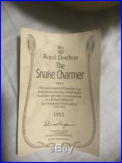 The Snake Charmer Royal Doulton D6912 Large Character Toby Jug Mug 1991 with COA