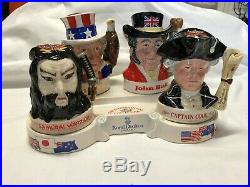 Vintage Royal Doulton International Collection Character Whiskey Jugs With Stand